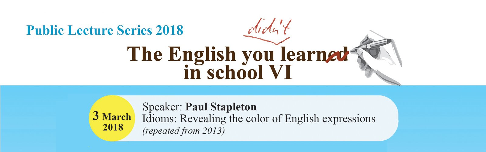 Public Lecture 2018 – The English you didn't learn in School VI