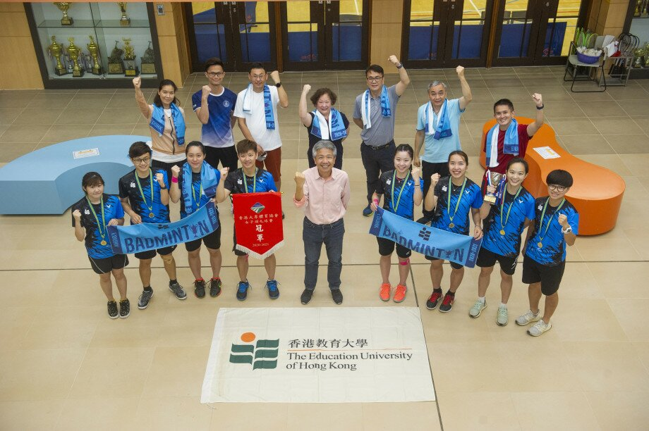 President Professor Stephen Cheung Yan-leung, members of the Department of Health and Physical Education and Women's Team celebrate the victory (Photo taken by Mr Edwin Leung)