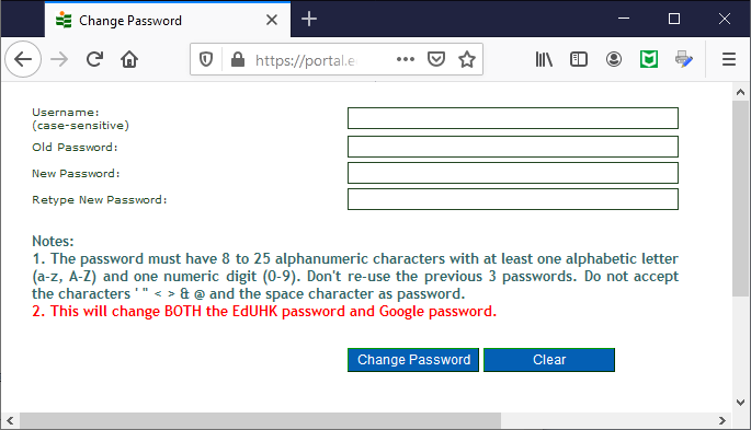 FAQ: How can I change the network account password at portal