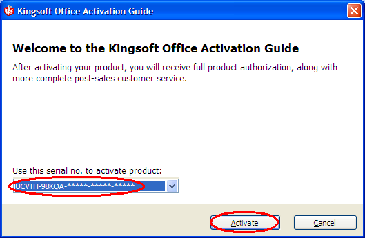 FAQ: KingSoft Office 2009 prompt for activation but fail to