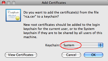 FAQ: How to add root certificate to Mac OS X | OCIO