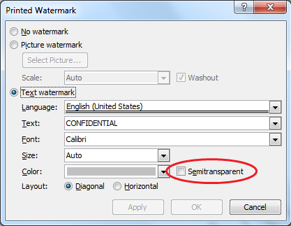 For MS Word 2007 2010 This Is Accessed From Page Layout Tab Watermark Custom