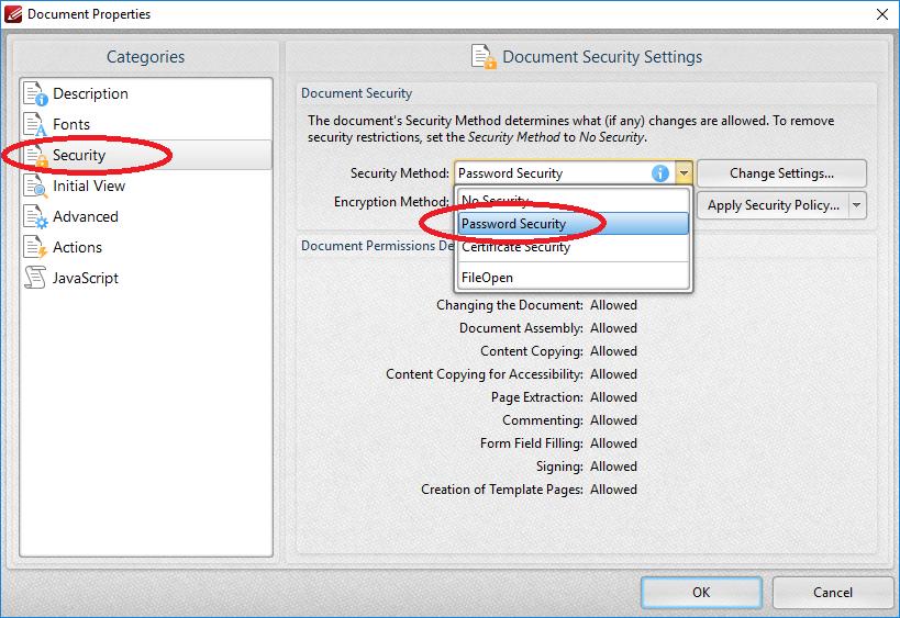 FAQ: How to apply open password on PDF file?   OCIO