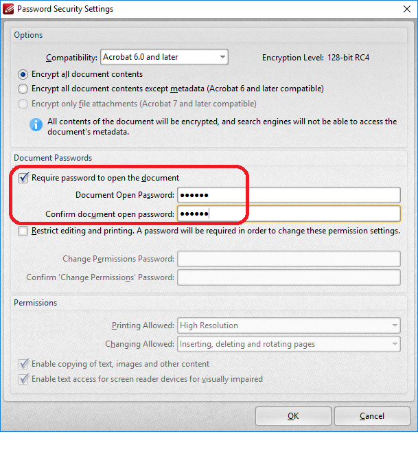 FAQ: How to apply open password on PDF file? | OCIO