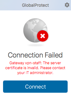 FAQ: VPN connection failed  GlobalProtect client prompt for server